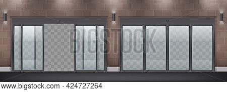 Glass Door Entrance Two Realistic Compositions With Open And Closed Doors In Wall With Transparent B