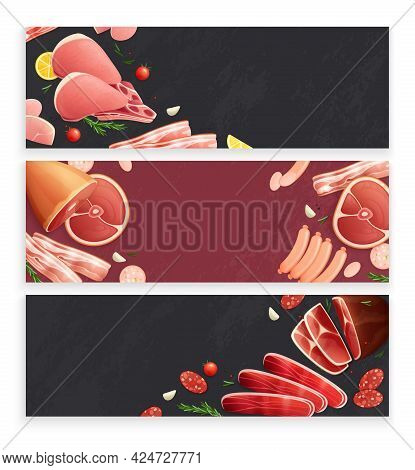 Butcher Shop Meat Products 3 Flat Appetizing Background Banners With Ham Bacon Sausages Beef Shanks