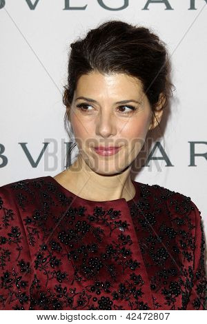 LOS ANGELES - FEB 19:  Marisa Tomei arrives at the BVLGARI Celebrates Elizabeth Taylor's Jewelry Collection at the BVLGARI on February 19, 2013 in Beverly Hills, CA