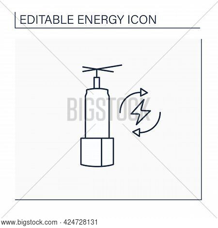 Energy Storage Line Icon. Long-duration Energy Warehouse. Manage Power. Electricity Concept. Isolate