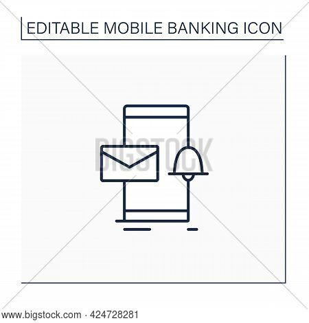 Email Alert Line Icon. Unread Email Notification. Web Banking Message. New Message On Smartphone Scr