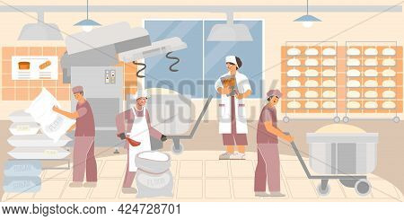 The Process Of Making Dough In A Bakery Factory Flat Vector Illustration