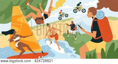 Summer Sport Vector Illustration With People On Wind Surfing Board Participating In Motocross And Hi