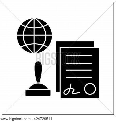 Notarial Services Glyph Icon. Certified By Notary Public.sign Agreement. Appointed Document With Sea