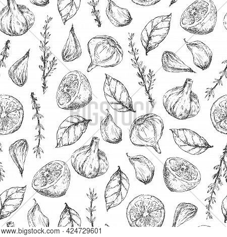 Vegetables And Herbs Graphic Elements Seamless Pattern