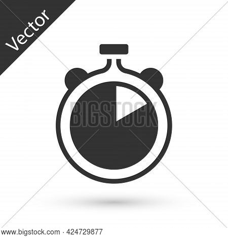 Grey Stopwatch Icon Isolated On White Background. Time Timer Sign. Chronometer Sign. Vector