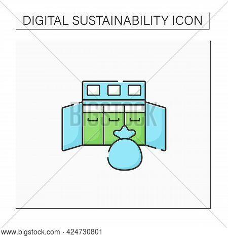 Console Waste Color Icon. Confidential Waste Disposal Bins. Recycle. Utilization. Digital Sustainabi