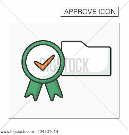Approve Folder Color Icon. Check In Paper Folder. Examine And Accept. Confidential File. Confirmed C