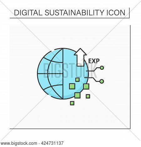 Digital Experience Color Icon. Interaction Between Person And An Organization.modern Technology.glob