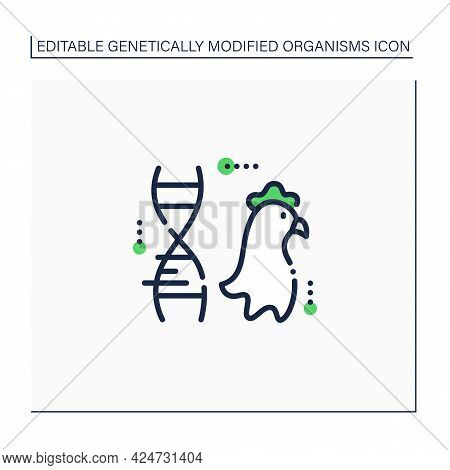 Chicken Line Icon. Genetically Modified Chicken Meat. Gmo Product. Inorganic Food. Genetically Modif