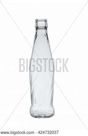 Empty Glass Bottle For Cold Carbonated Drinks. On A White Background, Close-up