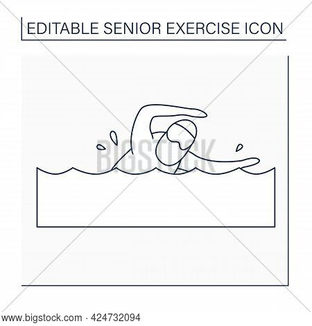 Swimming Line Icon. Physical Activity. Man Swim In The Pool. Keeps Muscles In Tonus. Training. Senio