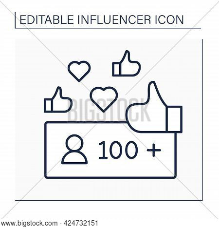 Unpopular Blogger Line Icon.followers. No Name. Low Influence On Audiences. Blogging Concept. Isolat