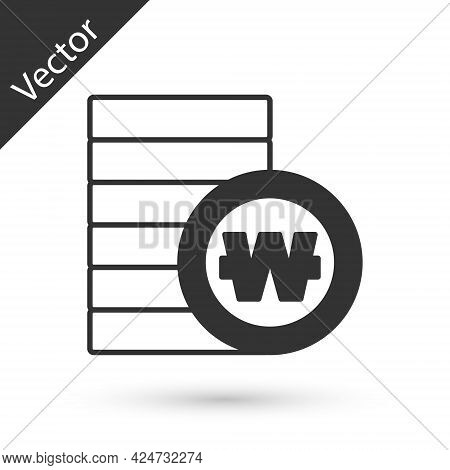 Grey South Korean Won Coin Icon Isolated On White Background. South Korea Currency Business, Payment