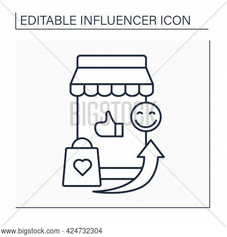 Influencer Marketplace Line Icon.online Platform Connects Marketers With Influencers.brands, Markete