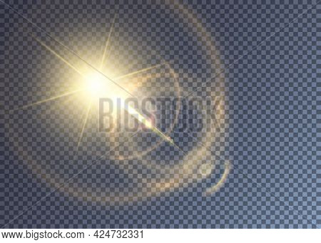 Glimmering Golden Vector Sun With Lens Flare