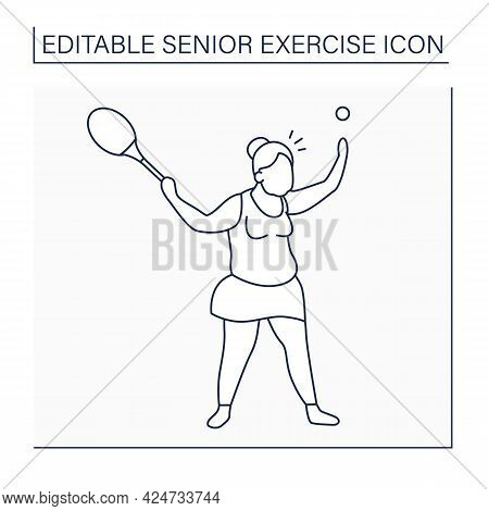 Tennis Line Icon. Racket Sport. Woman Keeps Rocket And Ball. Physical Activity. Cardio Workout. Spor