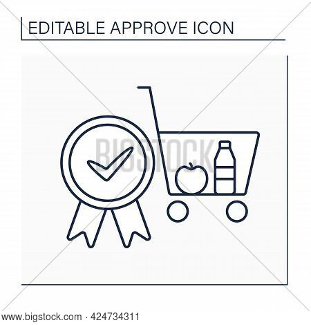 Approve Cart Line Icon. Online, Offline Shopping. Pending Shopping Cart Requests And Approving Entir