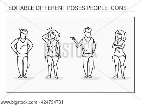 Different Poses People Line Icons Set. Woman And Man Confused, Unsatisfied People. People Poses Conc