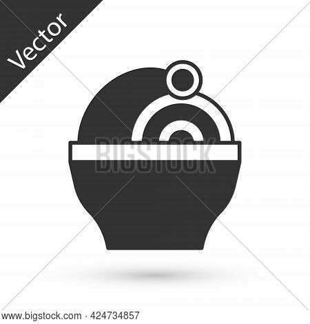 Grey Ramen Soup Bowl With Noodles Icon Isolated On White Background. Bowl Of Traditional Asian Noodl