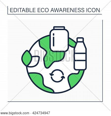 Reusable Products Line Icon. Plastic And Glasses Bottles, Jars, Containers. Reasonable Consumption.e