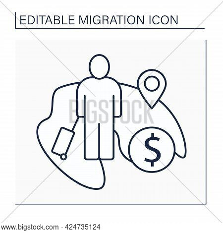 Economic Migration Line Icon. Person Seeking Improved Standard Of Living. Better Job Opportunities,