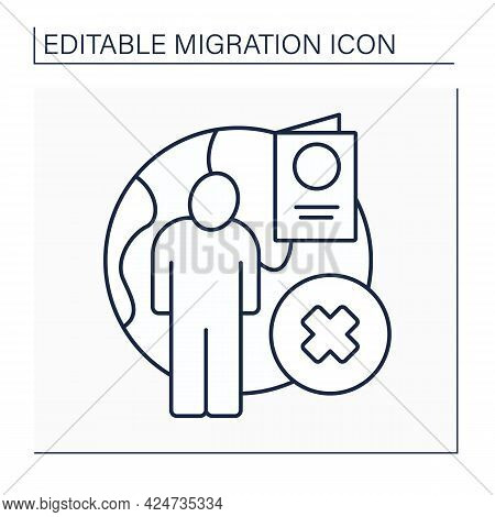 Stateless Person Line Icon. Statelessness. Not Considered As National By Any State.migration Concept
