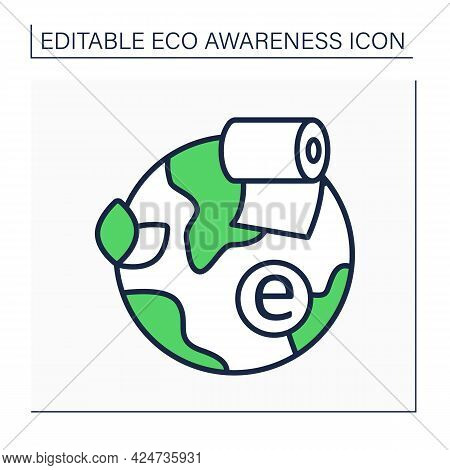 Toilet Paper Line Icon. Eco Friendly. Green Environment. Organic, Zero-waste, Plastic-free Or Bamboo