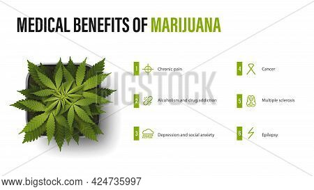Medical Benefits Of Marijuana, White Poster With Infographic And Bush Of Cannabis In A Pot. Benefits