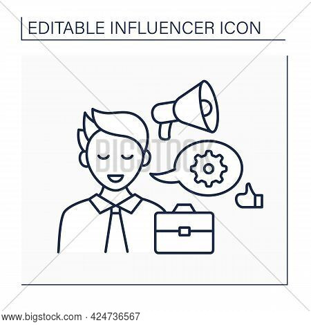 Industry Expert Influencer Line Icon.expert In Business World. Skilled At Industry Sector, Share Inf