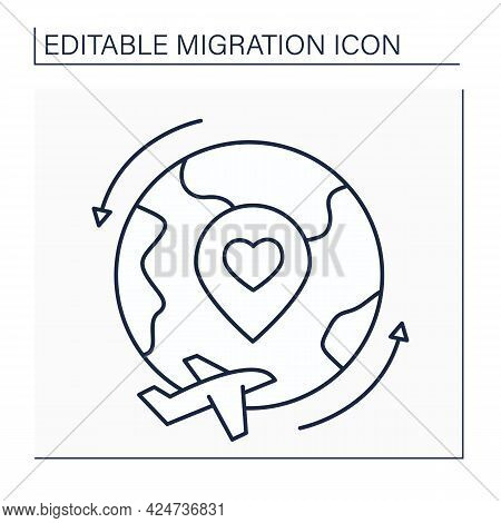 Repatriation Line Icon. Returning Voluntarily Or Forcibly To Place Of Origin Or Citizenship. Restori