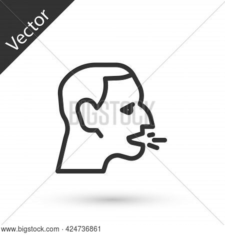 Grey Line Man Coughing Icon Isolated On White Background. Viral Infection, Influenza, Flu, Cold Symp