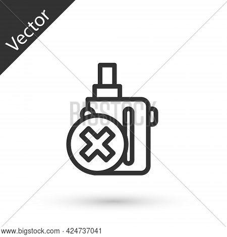 Grey Line Electronic Cigarette Icon Isolated On White Background. Vape Smoking Tool. Vaporizer Devic