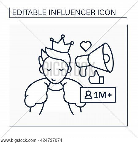 Mega Influencer Line Icon. Blogger With Million Subscribers.high Influence On People. Popular Person
