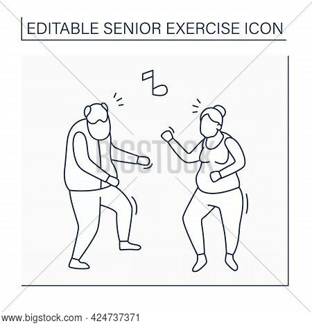 Dancing Line Icon. Physical Activity. Fun Time. Cardio Workout. Safety Training For Old People. Prev