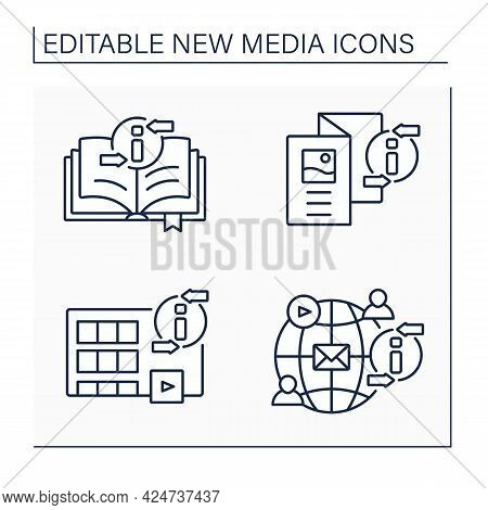 New Media Line Icons Set. Book, Brochure, Movies, Social Networks. Information Space Concept. Isolat