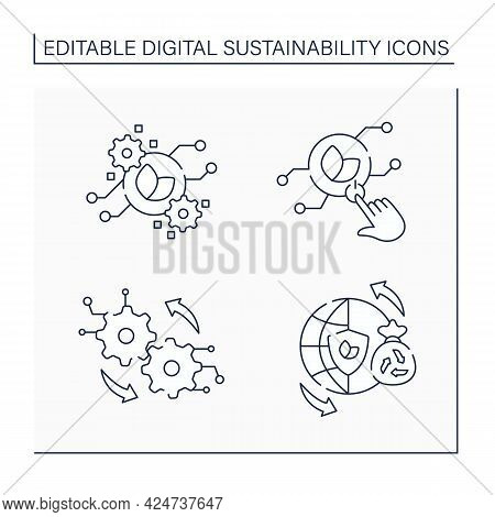 Digital Sustainability Line Icons Set. Sustainable Lifestyles, Green It, Operation. Planet Protectio