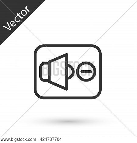 Grey Line Speaker Mute Icon Isolated On White Background. No Sound Icon. Volume Off Symbol. Vector