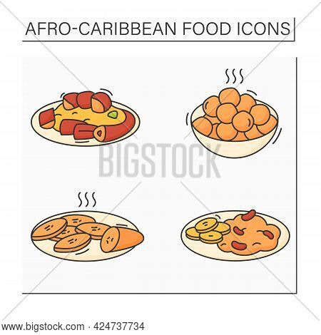 Afro-caribbean Food Color Icons Set. Jollof Oxtail, Fried Plantain, Ewa, Puff-puff. Traditional Dish