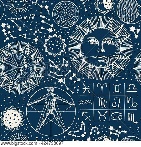 Seamless Pattern With Zodiac Signs, Horoscope Symbols, Moon, Sun, Stars, Constellations And Human Fi