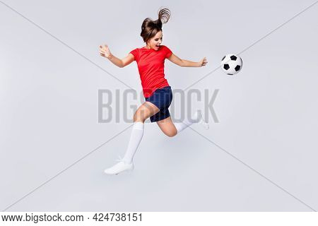 Full Body Profile Photo Of Joy Player Soccer Team Kick Ball Exercise Training Jump Up Catch Pass Run