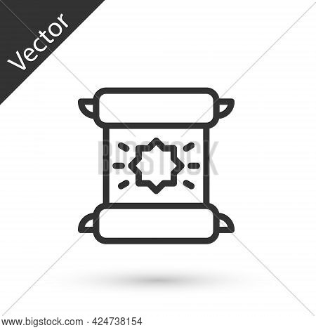 Grey Line Decree, Paper, Parchment, Scroll Icon Icon Isolated On White Background. Vector