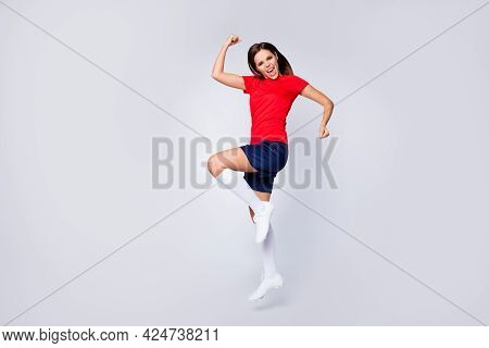 Full Body Profile Photo Of Joy Lady Player Soccer Team Jump Up Fists League Leader Native Country Wi