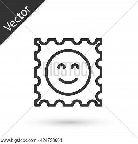 Grey Line Lsd Acid Mark Icon Isolated On White Background. Acid Narcotic. Postmark. Postage Stamp. H