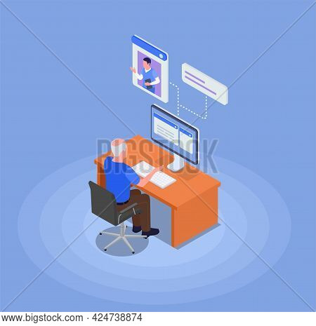 The Grandfather Sits At The Computer And Receives Advice From The Doctor On Health Issues Isometric