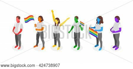 Demonstration Dedicated To International Day Against Homophobia With Adult Characters Holding Flags