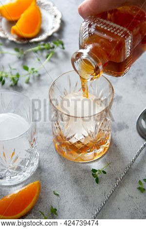 Whiskey, Brandy Or Bourbon Alcohol Drink In Crystal Glasse