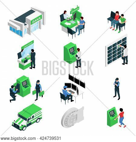 Bank Branch Isometric Set Of Manager Client Guard Cash Collectors Cash Dispenser Bank Cells Isolated