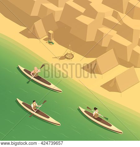 Artificial Whitewater Park Rafting Canoeing Training Recreation Sport Center Isometric Composition W