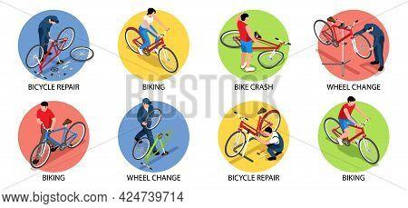 Biking Isometric Set Of Bike Crash Bicycle Repair Wheel Change Compositions Isolated Vector Illustra